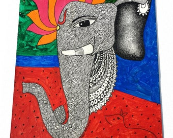 Ganesha Oil Painting; Colourful, Handmade, Indian Painting