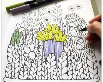Printable Joyful Floral Basket Colouring Page