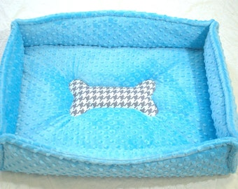 PET BEDS Blue Minky Puppy Doggie Bed Personalized