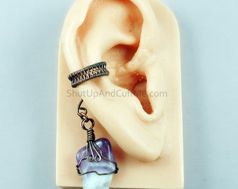 Amethyst and Woven Copper Ear Cuff - RIGHT ear only - CLEARANCE