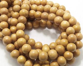 Nangka, Natural Wood Beads, Round, Smooth, 10mm, Small, Full Strand, 42pcs - ID 1411