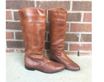 vtg 80s russet leather HARNESS knee high RIDING BOOTS boho 7 equestrian tall flat pirate