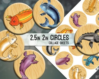 Digital Collage Sheet Koi Fish 2.5 Inch and 2in Circle Download Printable Images for Gift Tags Cards Scrapbooking JPG
