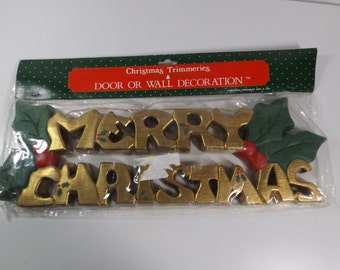 Christmas Trimmeries, door wall decoration, AMES,Merry Christmas, gold tone letters.Christmas tree ornament.Home decor