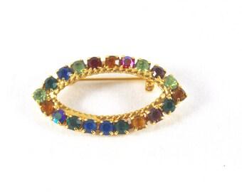 Rainbow Brooch Rhinestones Multi Color Vintage