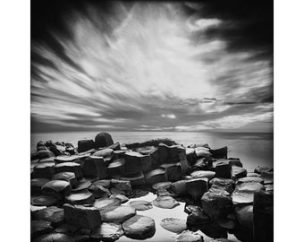 Ireland Black and White, The Giants Causeway, Basalt Coloumns Pinhole Photography, Long Exposure Photography, Fine Art Print