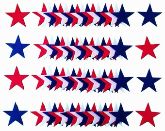 "3"" Felt Stars - 72 piece - Red White and Blue Stars - 4th of July Patriotic Craft Decorations - Die Cut Felt Stars"