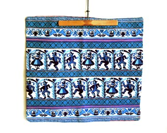 Embroidered Pillow Cover, German Folk Art, Cobalt Blue Dancing People, Embroidered Trim, Wedding Gift, Vintage Textiles, Cabin Chic Decor