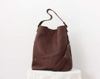 Brown Leather Hobo Bag, Crossbody Hobo Bag, Oversize, Bohemian Bag, Shoulder Hobo, Large Tote bag, Modern bag, Genuine Purse,  Weekender bag