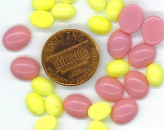 German Glass Cabochons . Jewelry Projects . Vintage Glass . Yellow and Pink . 10x8mm. 6x8mm . 30 pcs - DESTASH by enchantedbeas on Etsy