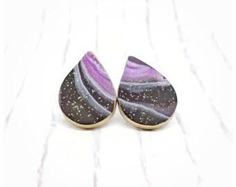Galaxy jewelry polymer clay jewelry black and purple earrings earrings milky way EARRINGS nickel free earrings lightweight earrings teardrop