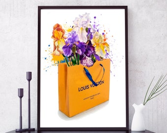 Louis Vuitton Bag Poster. LV paper bag flowers print. Watercolor Louis Vuitton print. Decor Girl Room, Fashion Wall Art. LV Prints LV Poster