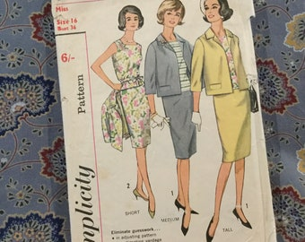 Simplicity 50s skirt, top, jacket pattern, size 16, bust 36""