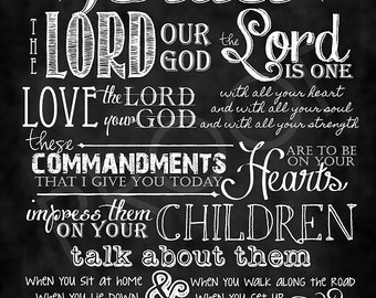 Scripture Art - Deuteronomy 6:4-8 Chalkboard Style