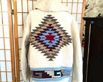 Sale Vintage Wool Blanket Jacket Hooded with Front Tassel Ties Mexican Textile
