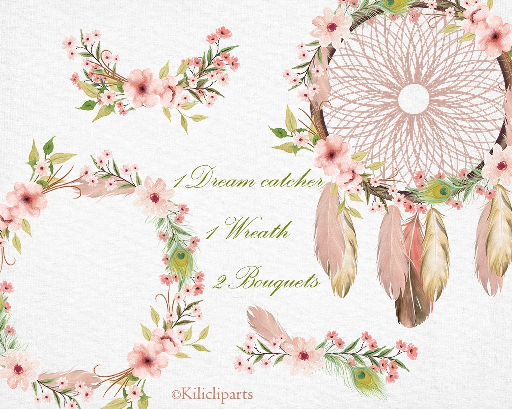 Boho wedding invitation Dream catcher floral Wreath flowers