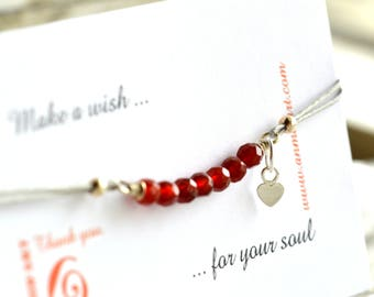 Red Bracelet Bracelet Mother's Day Bracelet String Love Bracelet Heart Bracelet Friendship Bracelet Faceted Bracelet Wish Bracelet