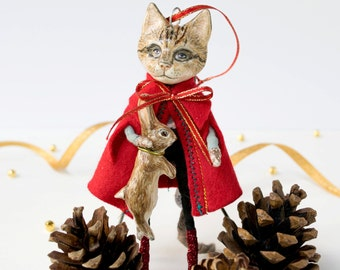 Spun cotton and clay Puss in Boots handmade cat art doll figurine decoration with a rabbit. Cat lover gift. Christmas tree decoration