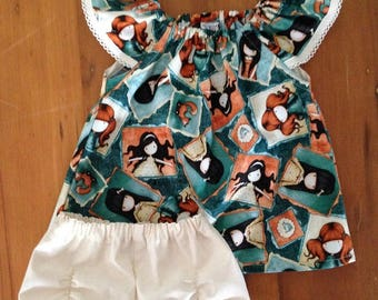 Toddlers Seaside dress with ruched shorts, GORJUSS, size 1, 2 piece