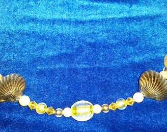 Yellow and Bronze Seashell Necklace