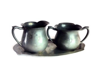 "Colonial Pewter Sugar and Creamer with ""P"" Initial"