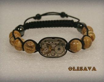 "Mens  Steampunk bracelet  of   Picasso Jasper  Beads and old watch movement 1/2 x 3/4 "",  bracelet Shamballa , Clockwork Bracelet"