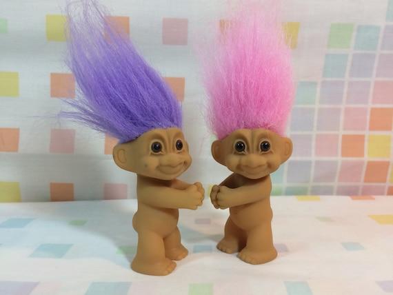 1990s troll dolls treasure trolls hugging hugger clips pink