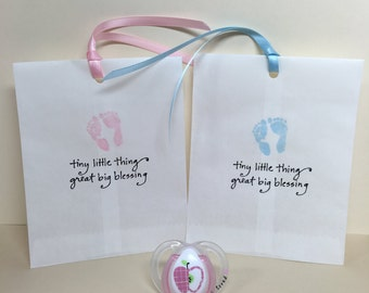 Baby shower favors, Baby favor bags, Baby shower thank you, Baby shower tag, Set of 12, Favor tags, Paper sack favor, Baby girl, Baby boy