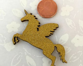 """Wood Golden Glitter Unicorn for Baby Shower, Party Favors, Cup Cake Topper, Magical Unicorn Themed, Centerpiece, 2.25"""" W x 1.5"""" H, 25 pieces"""