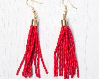 Beautiful Red Tassel Earring, Seed Beads Drop Earring, Handmade in Nepal, Beaded earring with tassel