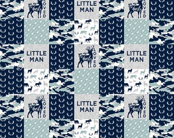 Deer Crib Bedding, Rustic Baby Quilt, Little Man Blanket, Navy Blue Grey Gray, Woodland Baby Quilt, Boy Baby Quilt, Patchwork Minky Blanket