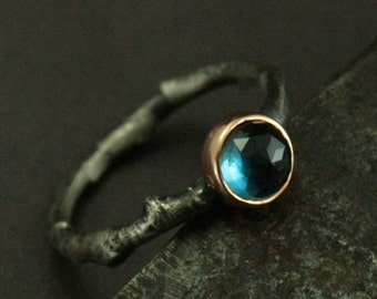 Twig Ring - Dew Drop - Rose Cut London Blue Topaz Set in Rose Gold Bezel - Branch Ring - Twig Engagement Ring - Nature Ring - Branch Band