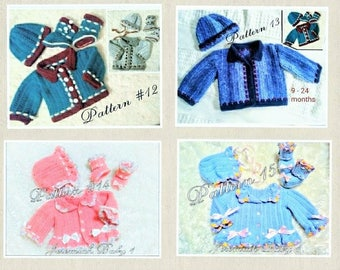 4 crochet patterns Baby Crochet Patterns Baby Hat Patterns Baby Sweater Patterns Baby Bonnet Pattern Baby Booties Patterns Preemie to 24 mo.