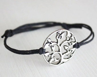 Tree of Life Bracelet or Anklet in Silver, Tree Bracelet, Nature Jewelry, Family Bracelet, Gifts for Her, Mothers Day Gift, Sister Gift