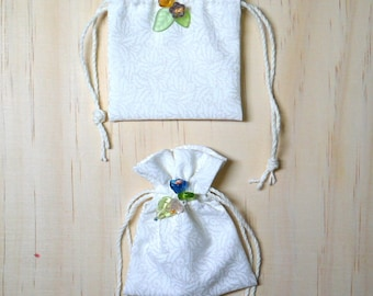 small jewellery pouches, a set of 2 ,wedding ring pouches,Tiny draw string pouch,Draw String , storage organizer, natural cotton   bu LnC