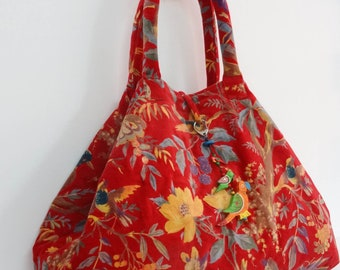 Maxi large tote bag with handles in cotton velvet red printed bird of paradise with Keychain bag charm