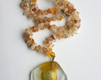 Yellow Amber Glass Necklace