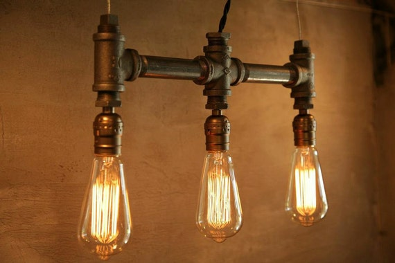 3 Bulb - Classic Edison bulb iron pipe pendant lamp - Urban Industrial style lighting -New york city Loft Style