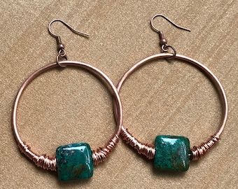 Hoop earrings chrysocolla - gem stone - copper jewelry