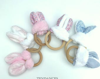Cotton Bunny teether & different color fleece soft 15cm