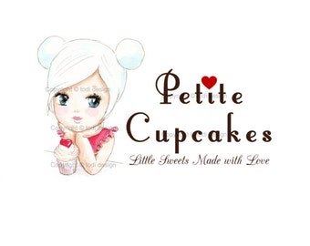 OOAK Character illustrated Premade Petite Cupcakes Logo design - Will not be resold