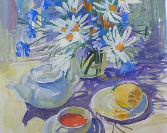 Original Gouache painting Still life picture 19x15 watrcolour art florale malerei home decor flowers