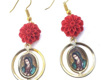 Virgen de Guadalupe Rose Earrings