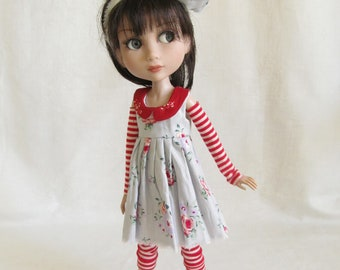 "Patience Tonner Kaye Wiggs 14"" BJD fashion by JEC gray & red  floral dress and stripe leggings"