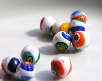 White and Multicolor Italian Millifiori 8mm Round Beads  10