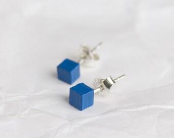 Stud earrings, tiny earrings, blue stud earrings, blue earrings, earrings studs, FREE SHIPPING, wooden earrings, minimal