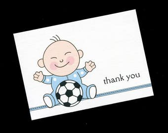 Baby Shower Thank You Cards - Baby Boy Cards - Baby Thank You Cards - Soccer - Blank Note Cards - Blank Cards - Set of 75