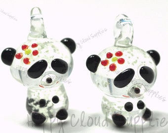 Glow in the Dark Girl Panda Lampwork Glass Charm... 2pcs