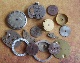Vintage WATCH PARTS gears - Steampunk parts - r44 Listing is for all the watch parts seen in photos