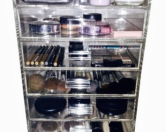 The GRAND™ Glamour Glass Clear Cosmetic Cube Organizer, 7 Tier 6 Drawer Acrylic Makeup Display Storage Cube w/top lid *GlamourGlassCubes.com